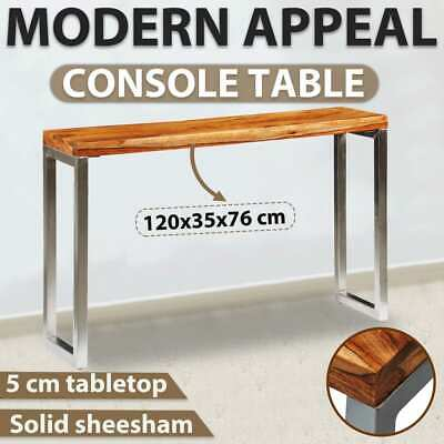 vidaXL Handmade Console Side Table Solid Sheesham Wood Steel Leg 120x35x76cm