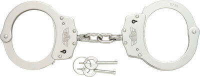 Uzi Handcuffs Silver finish HC-C-S Steel construction. Double lock with two keys