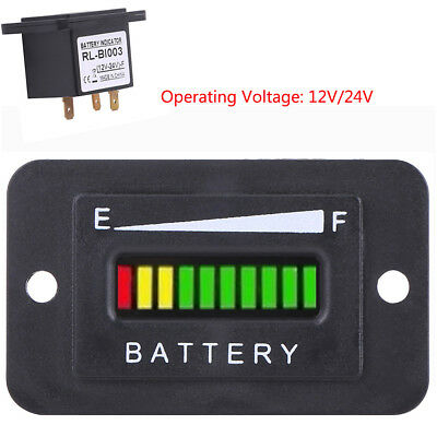 12V/24V LED Monitor Digital Battery Indicator Meter Gauge Set for Car Golf Cart
