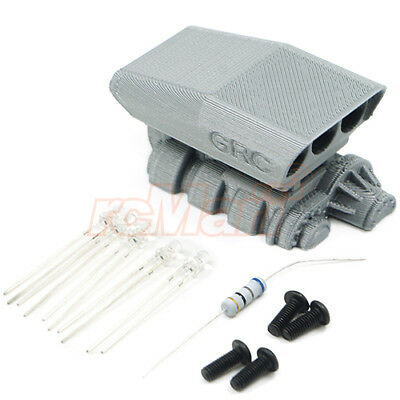 GRC 3D PLA Mock Intake & Blower Set Grey w/LED For 1/10 RC Cars Body #GAX0009S10