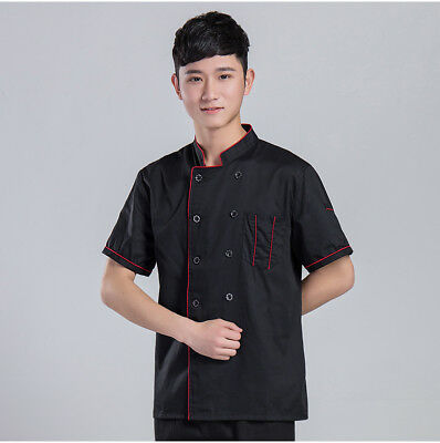 Chef's Short Sleeve Uniform Outfit Work Clothes Coats Hotel Jacket Breathable