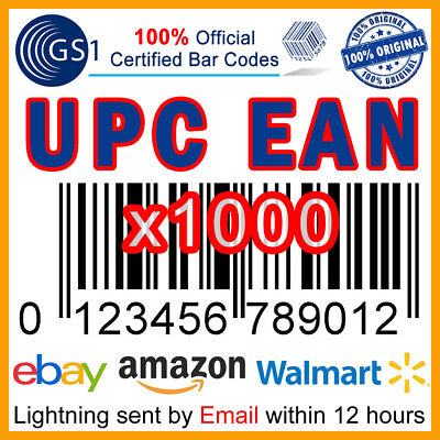 x1000 UPC EAN Code Numbers Bar Codes GS1 Official Barcodes, eBay Amazon US UK EU