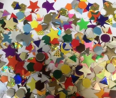 1000 x CRAFT CARD SHAPES GUMMED AND NON GUMMED, METALIC, COLOURED & PEARL COLOUR