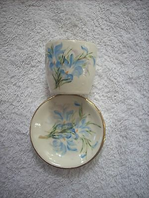 Wembley Ware Shape Hand Painted Egg Cup And Pin Dish Signed E Lakidos