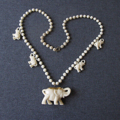 Vintage Elephants Dangles Flowers Beads Creamy Plastic Necklace