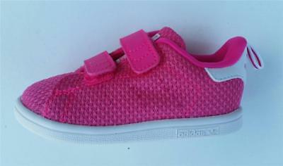 buy online 980a9 d75e9 Adidas girls infant stan smith ck comfort s79440 pink velcro trainer shoe  new