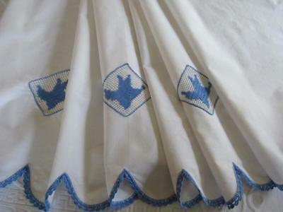 LARGE Vintage WHITE Cotton PILLOW LAYOVER Runner? Blue & White BLUEBIRDS