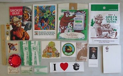 21 Pieces Of Smokey The Bear Membership + Promo Items Ashtray Sticker Woodsy Owl