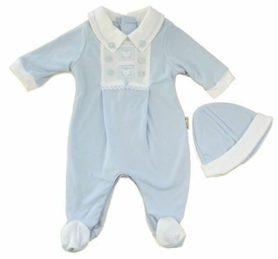 Traditional romper babygrow & hat outfit sky blue embroidered 0-3 months BNWT
