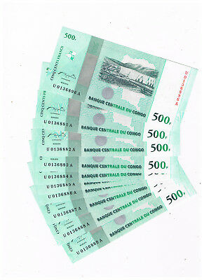 Congo P 100 10X500 Francs 2010 50 Anniversary Of Independance 9 Consec Numbers