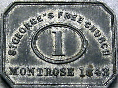 1843 Montrose Angus Scotland Communion Token