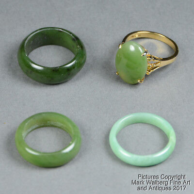 Lot of FOUR Chinese Jadeite, Gold, Spinach Jade Rings, Bands, 20th Century
