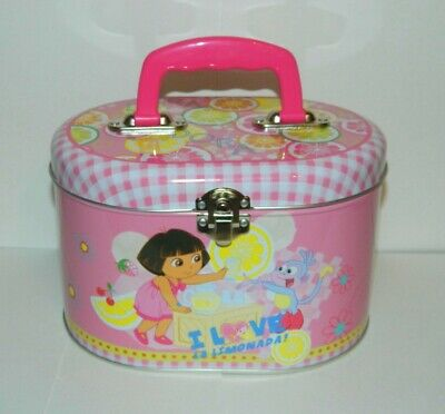 Dora the Explorer Illustrated Tin Sewing Box Tote Style C, NEW UNUSED