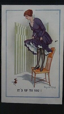 Donald McGill Comic Postcard: Stockings & Mouse Humour