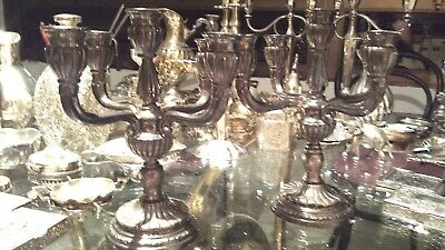 650g STUNING SET 2 CHANDELIERS sterling silver 5 LIGTHS gadroon COLONIAL STYLE