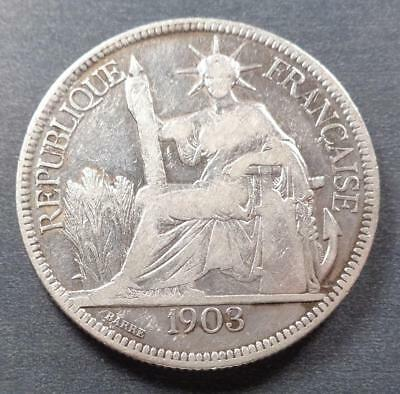 1903  French Indo-China Silver 1 Piastre Trade Dollar