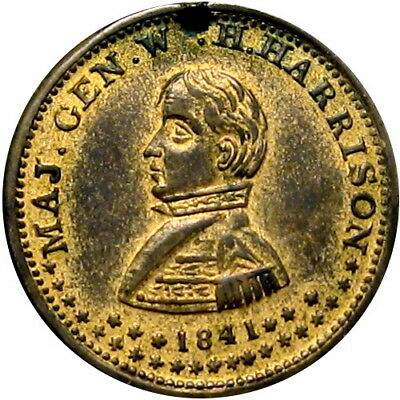 1840 William Henry Harrison Political Campaign Hard Times Token Go It Tip