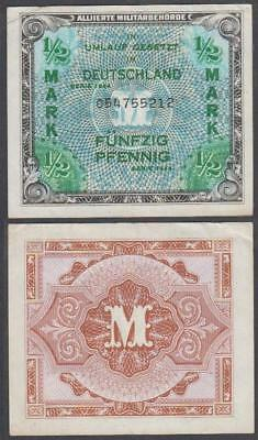 1944 WW II Allied Military Currency Germany 1/2 Mark