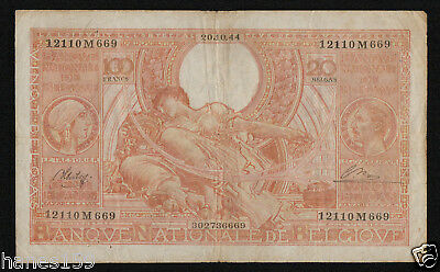 BELGIUM (P113) 100 Francs - 20 Belgas 1944 F+ Orange