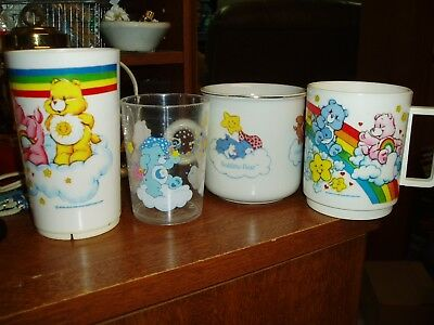 4 Vtg. Care Bear Cups And Glasses