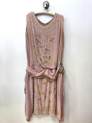 Antique Vintage Gidding Co 1920s pink silk embroidered beaded pearls lamé dress.