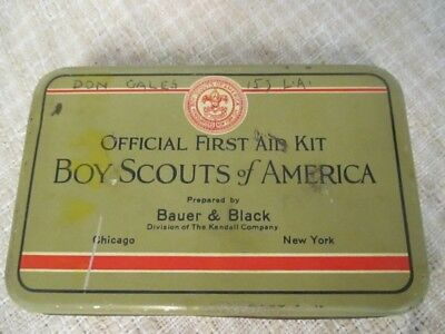 D5 1930's Vintage BOY SCOUT - Bauer & Black - FIRST AID KIT - Full w Guide