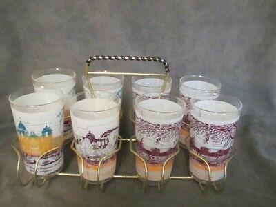 B5 Vintage  Frosted 8 Glass Tumbler Set - California Missions in Metal Caddy