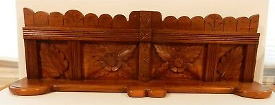 "Beautiful 28"" Antique Eastlake Carved Walnut Leaf Motif Pediment"