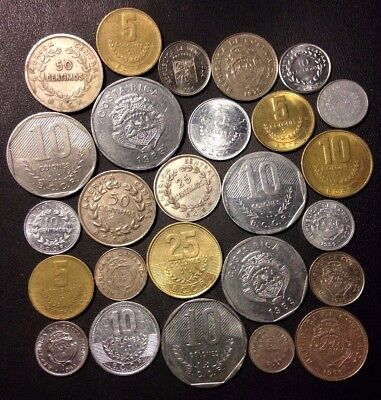 Old Costa Rica Coin Lot - 1935-Present - 26 Great Coins - Lot #915