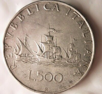 1959 ITALY 500 LIRE  - Excellent Vintage Silver Coin - Lot #915