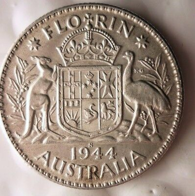 1944 S AUSTRALIA FLORIN - AU - GREAT Sterling Silver Coin - Lot #915