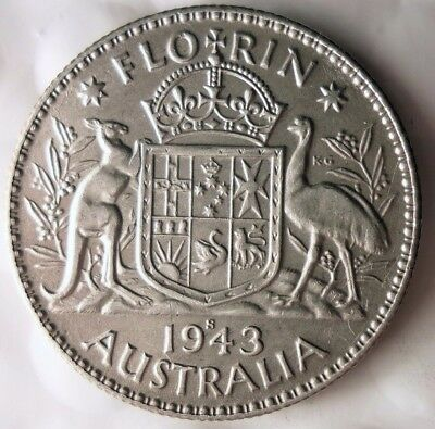 1943 S AUSTRALIA FLORIN - AU - GREAT Sterling Silver Coin - Lot #915