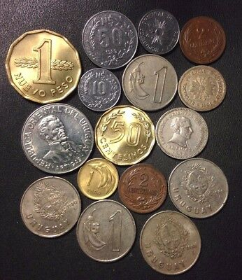 Old Uruguay Coin Lot - 1901-Present - 16 Great Coins - Lot #915