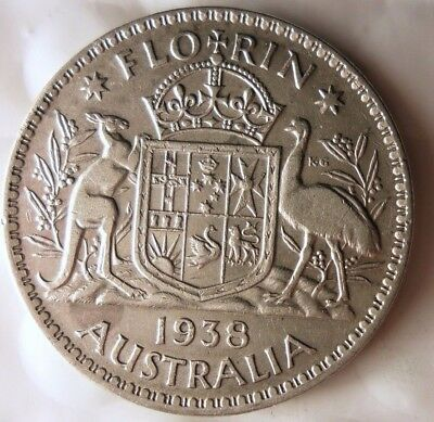 1938 AUSTRALIA FLORIN - AU - GREAT Sterling Silver Coin - Lot #915