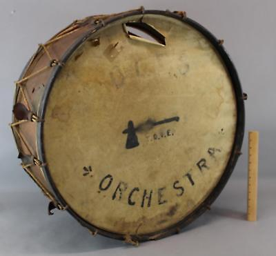 19thC Large Antique T.O.T.E Fraternal Order of Red Men Orchestra Band Bass Drum