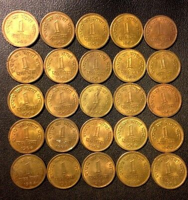 Old India Coin Lot - 1960s Paisa Coins - Higher Grade - 25 Coins - Lot #915