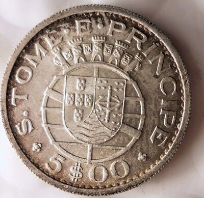 1962 SAO TOME AND PRINCIPE 5 ESCUDOS - AU - Only 88k Minted Silver - Lot 915