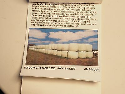 Z-scale Nansen wrapped rolled hay bales in Metal, 6ea
