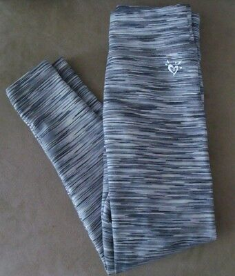 Justice size 7 girl's leggings grey white black stripes  Fall clothes