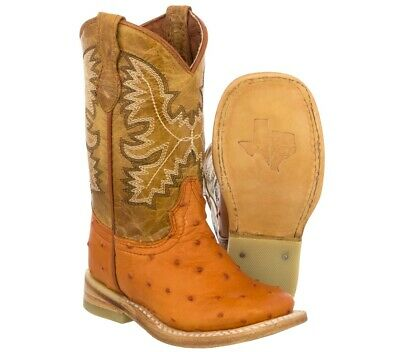 872df228f90 KIDS TODDLER COGNAC Ostrich Quill Cowboy Boots Print Leather Square Toe