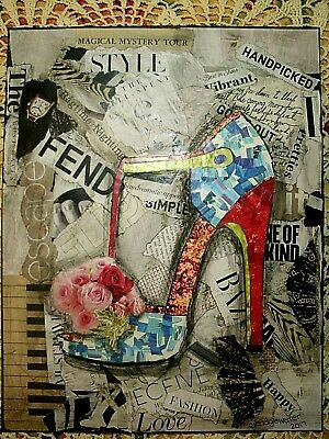 Altered Art Paper Magazine Mosaic Collage Stiletto One of a kind!