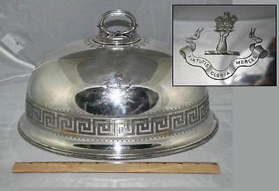 19thC Antique Elkington Silverplate Food Cover, Robertson Scottish Family Crest