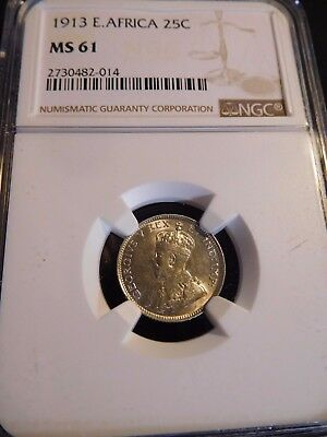 INV #W91 British East Africa 1913 25 Cents NGC MS-61