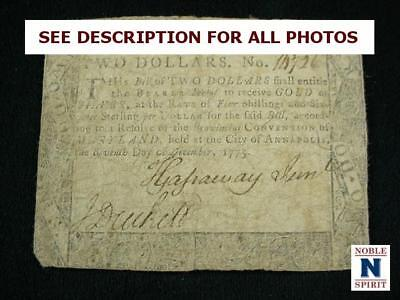 NobleSpirit NO RESERVE {3970} Desirable $2 Colonial Currency 1775 Maryland F/VF