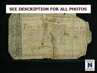 NobleSpirit NO RESERVE {3970} Desirable $1 Colonial Currency 1767 Maryland F/VF