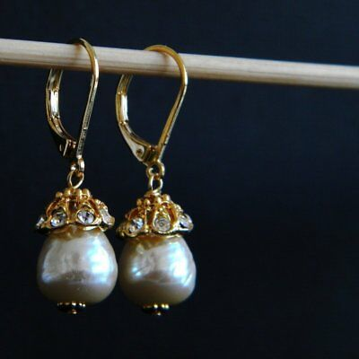 Vintage Japanese Baroque Glass Pearl Gold Plated Rhinstone Earrings