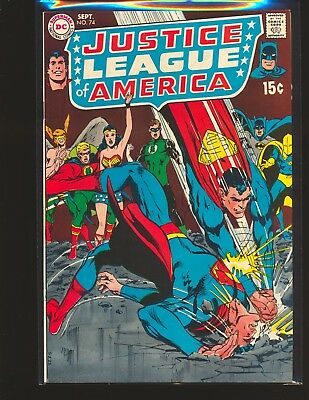 Justice League of America # 74 Adams cover VG/Fine Cond. bottom staple detached