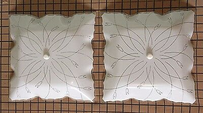 Vintage Set of 2 Square Ceiling Light Shade Floral w/Screw White Scallop 11 1/2""