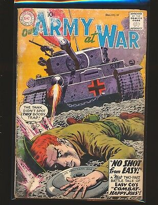 Our Army At War # 89 - Heath cover Poor Cond. water damage top staple detached