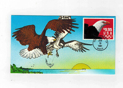 #2541 Hand Painted Soaring Eagle Fdc $9.95 1991